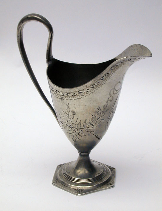 An Antique British Pewter Sheffield Engraved Cream Pot
