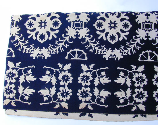 A Double Weave Blue and White New York Coverlet
