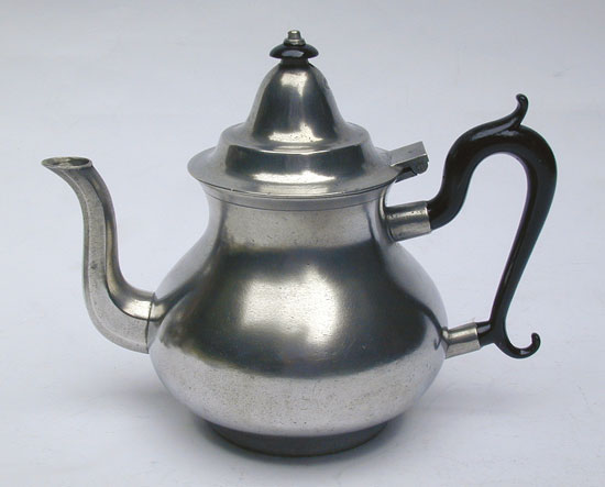 An Antique American Pewter Pear Form Teapot by Boardman