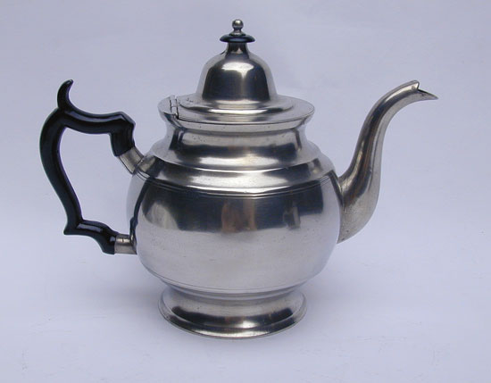 A Pewter Inverted Mold Teapot by Thomas & Sherman Boardman