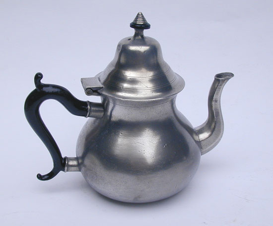 A Unmarked Pewter Pear Form Teapot from the Danforth/Boardman Molds