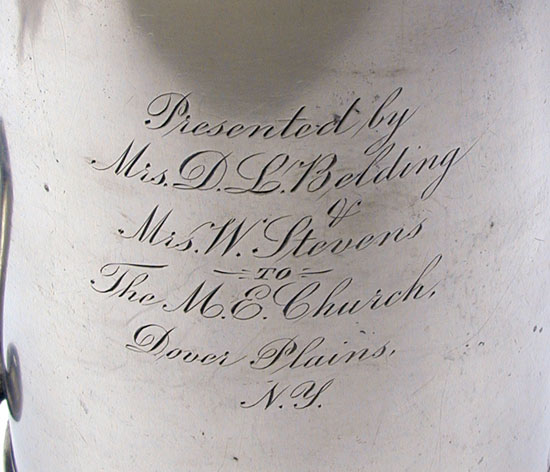 An Unmarked Two-Quart Boardman Flagon with Inscription