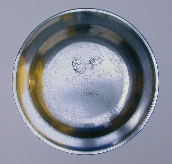 An Export Pewter Single Reed Rim Plate by Thomas & Townsend Compton