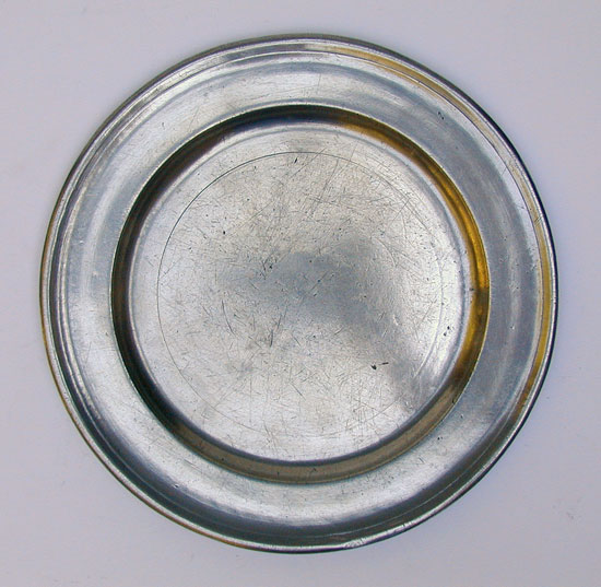 A Single Reed Rim Pewter Plate by Thomas Danforth III
