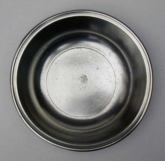 A Fine Small Antique American Pewter Basin by Samuel Danforth