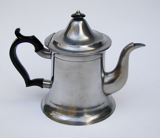 A Pewter Truncated Lighthouse Form Teapot