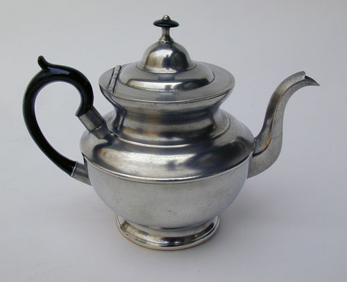 An Unmarked One Cup Boardman Pewter Teapot with Copper Bottom