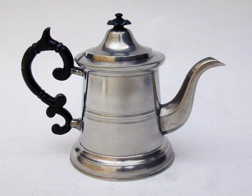 A Truncated Lighthouse Pewter Teapot by Smith & Co.