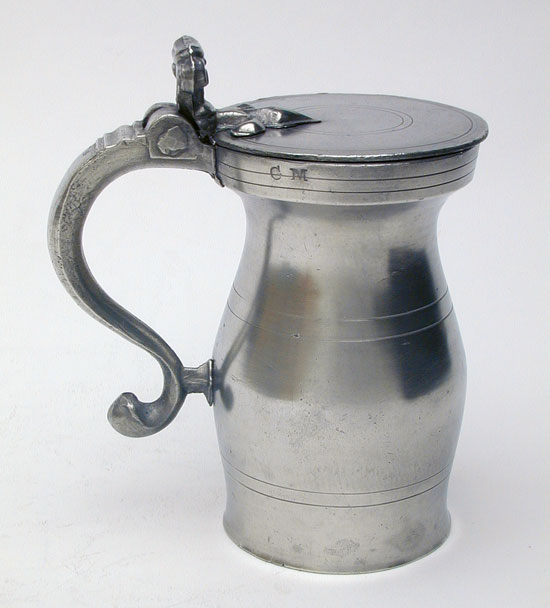 An English Export Pint Pewter Double Volute Measure