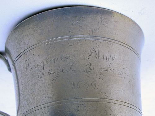 A Handled American Pewter Beaker with Inscription