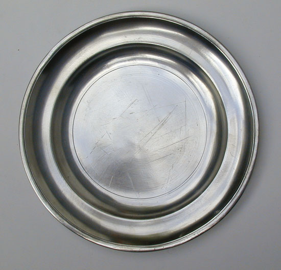 A Near Mint Antique American Pewter Plate by the Boardmans