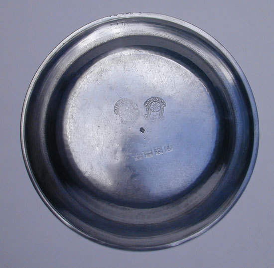 A Well Used Export Pewter Plate by Townsend & Compton