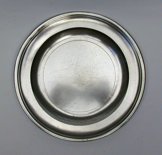 A Fine Condition Export Pewter Plate by Robert Bush & Co