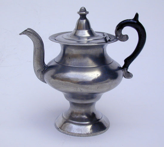A Miniature Pewter Teapot Attributed to Roswell Gleason