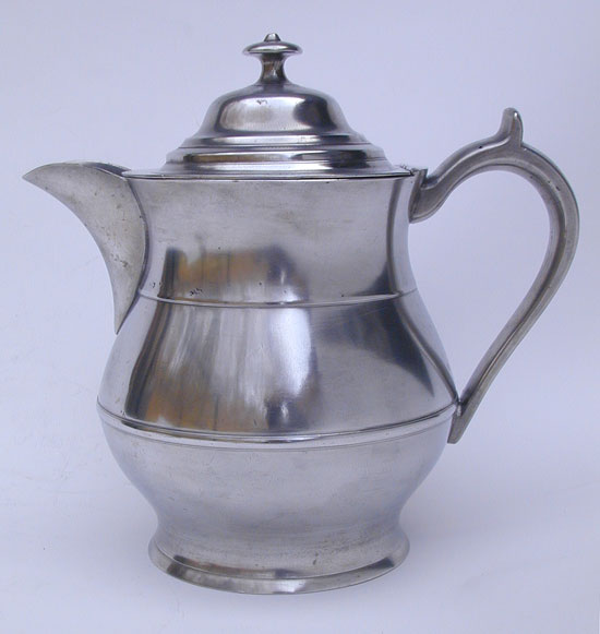 A Two Quart Lidded Pewter Water Pitcher by Boardman