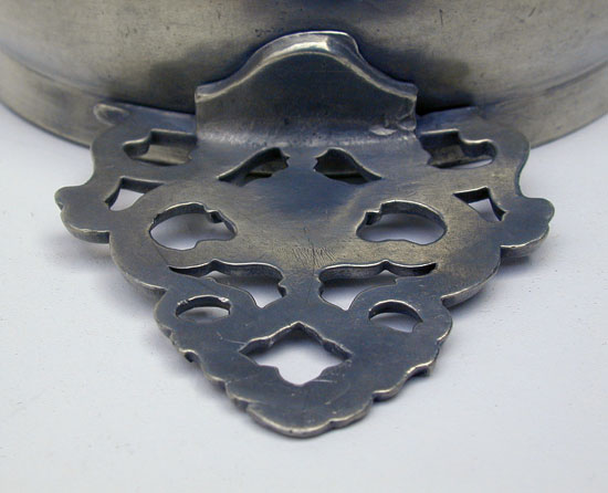 Unmarked Pewter Flower Handle Porringer from the David Melville Shop