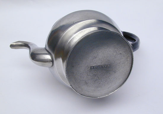 A Inverted Mold Antique American Pewter Teapot by Allen Porter