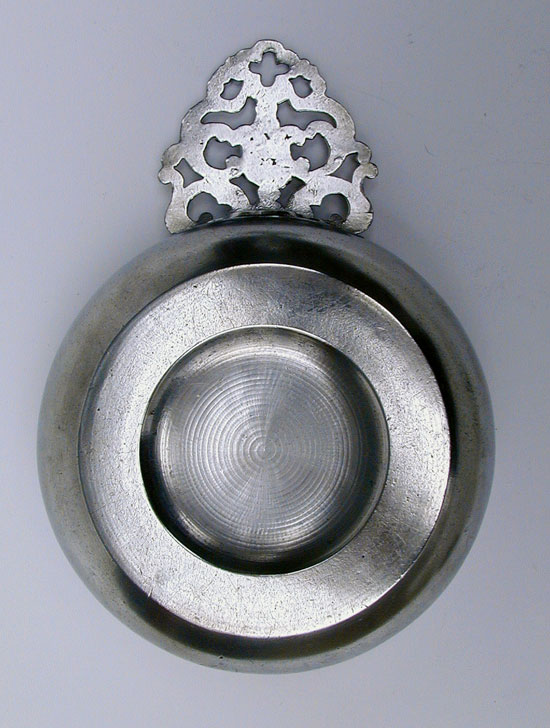 A TD & SB Flower Handle Porringer with Owner's Initials