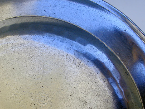 An Antique American Pewter Plate by Henry Will