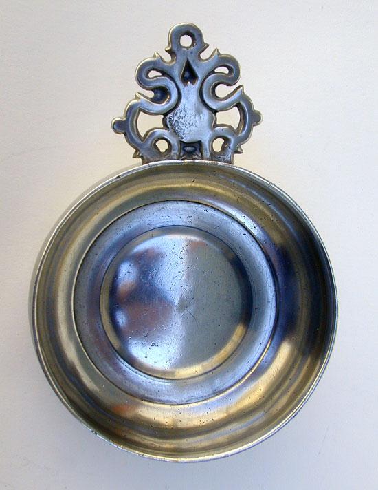 An Antique American Old English Handle Pewter Porringer by Samuel Danforth