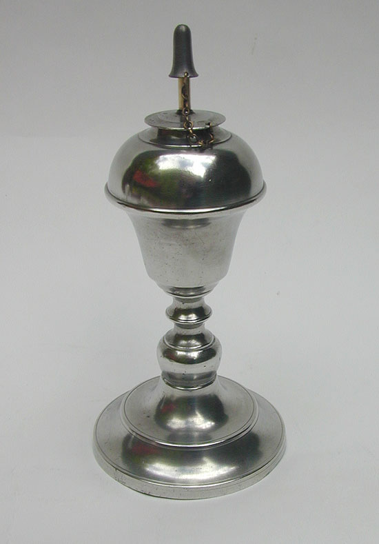 An Antique American Pewter Whale Oil Lamp by Smith & Co