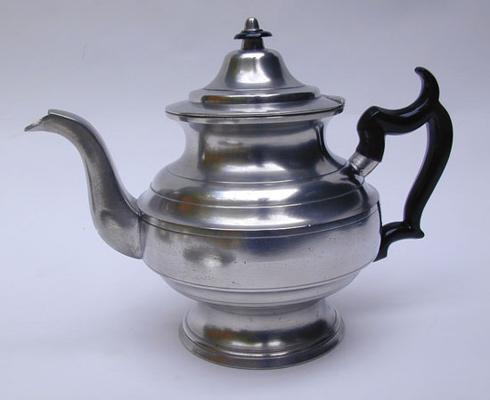 A Fine Antique American Pewter Inverted Mold Teapot by George Richardson