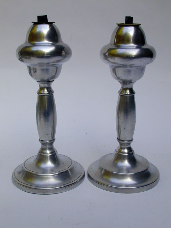 A Fine Pair of Antique American Gleason Pewter Whale Oil Lamps