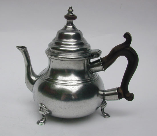 A Scarce Footed Antique English Export Pewter Teapot by Robert & Thomas Porteus