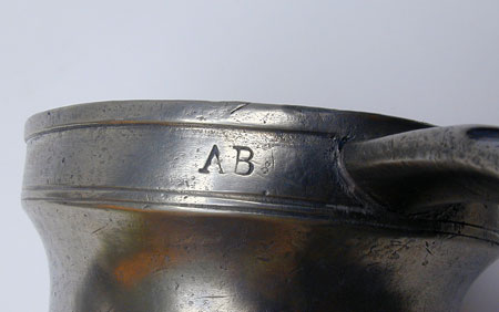 An Antique American Pewter Baluster Measure by Boardman & Hart Pint