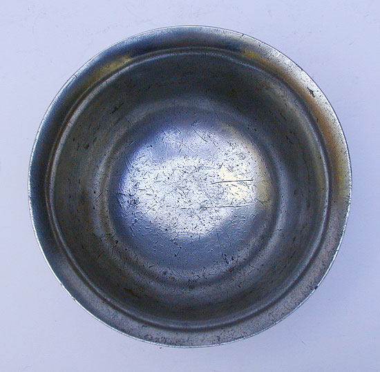 An Antique English Export  Pewter Broth Bowl by Nathaniel Barber