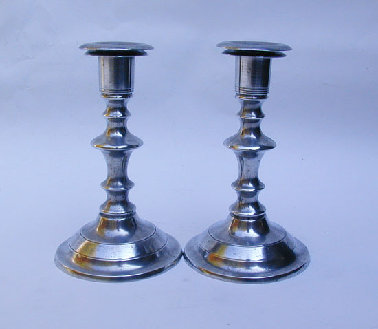 A Pair of Antique American Pewter Candlesticks by Freeman Porter