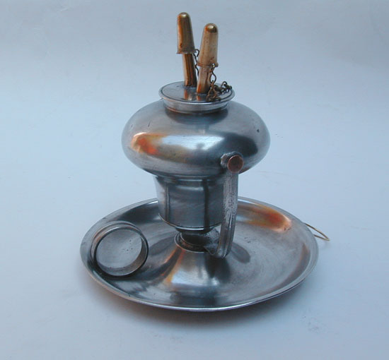 An Antique American Pewter Swivel Fluid Burning Lamp