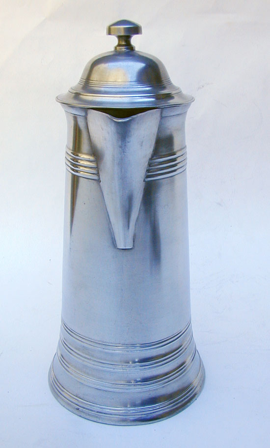 A Tall Antique Pewter Flagon by Israel Trask
