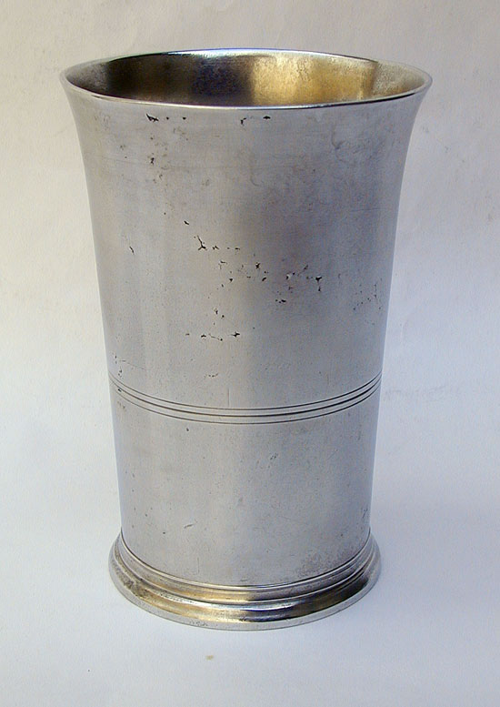 A Tall Pewter Beaker by Timothy Boardman & Co
