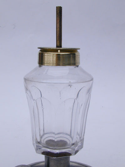 An Unmarked Smith & Co. Pewter Glass and Brass Chamber Lamp