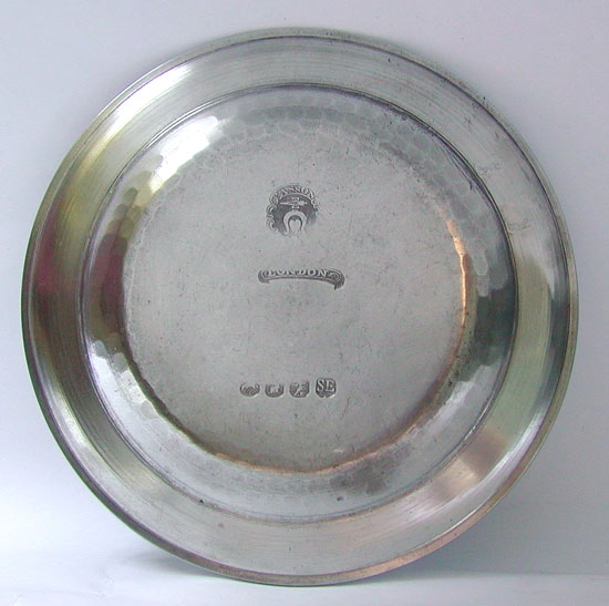 A Set of Four Export Pewter Plates by Fasson & Son