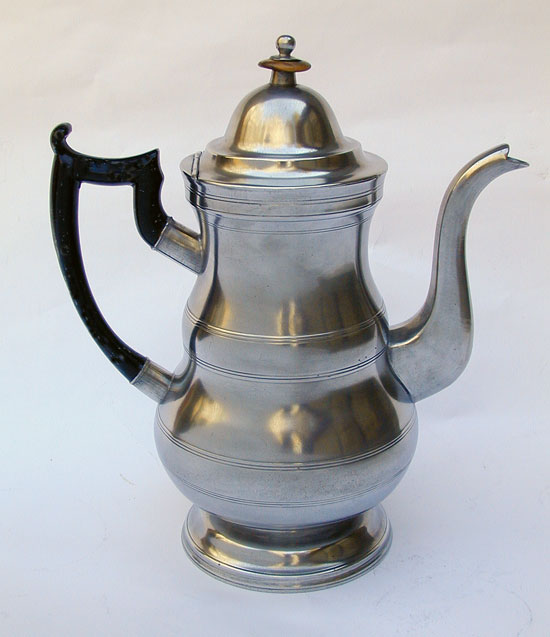 A Boardman & Co Double Belly Pewter Coffeepot