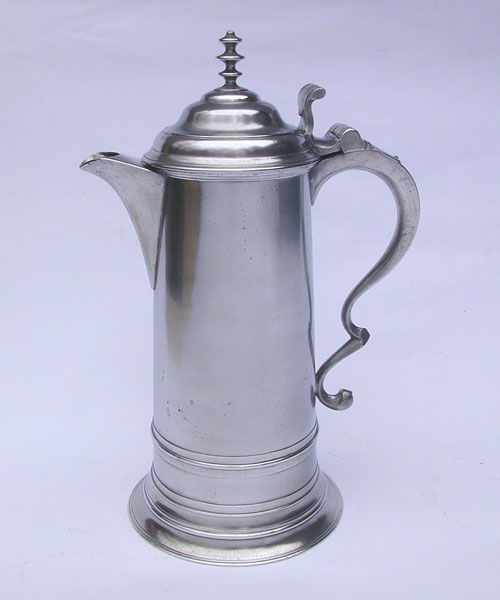 A Boardman & Co Triple-Tiered Finial Pewter Flagon